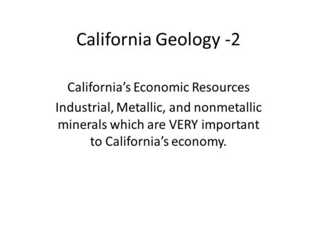 California's Economic Resources
