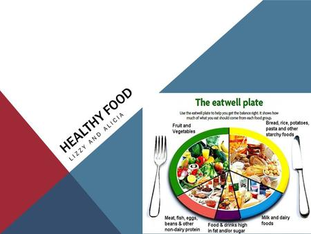 HEALTHY FOOD LIZZY AND ALICIA. 5 FOOD GROUPS Fruit and vegetables. Starchy foods, such as bread, rice, potatoes and pasta. Choose wholegrain varieties.