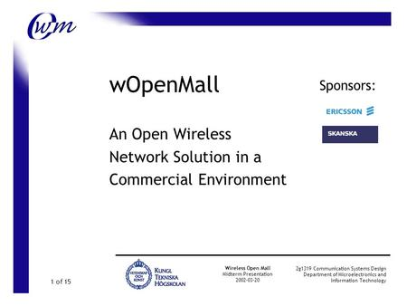 wOpenMall An Open Wireless Network Solution in a Commercial Environment Wireless Open Mall Midterm Presentation 2002-03-20 2g1319 Communication Systems.