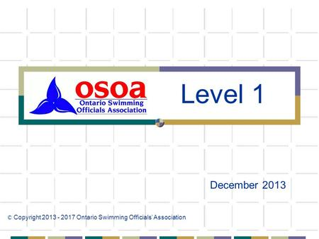 December 2013 © Copyright 2013 - 2017 Ontario Swimming Officials' Association Level 1.