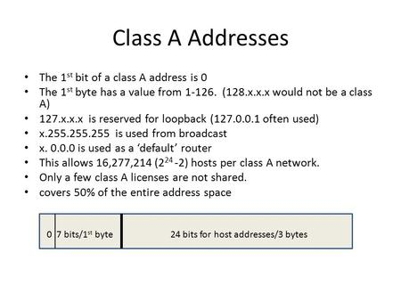 Class A Addresses The 1 st bit of a class A address is 0 The 1 st byte has a value from 1-126. (128.x.x.x would not be a class A) 127.x.x.x is reserved.