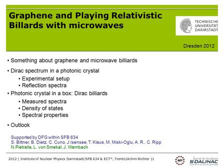 2012 | Institute of Nuclear Physics Darmstadt/SFB 634 & ECT*, Trento|Achim Richter |1 Graphene and Playing Relativistic Billards with microwaves Something.