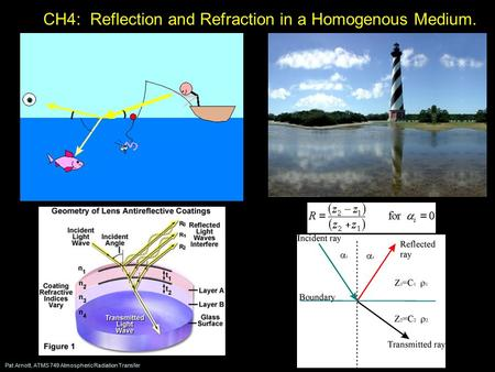 Pat Arnott, ATMS 749 Atmospheric Radiation Transfer CH4: Reflection and Refraction in a Homogenous Medium.