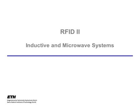 RFID II Inductive and Microwave Systems