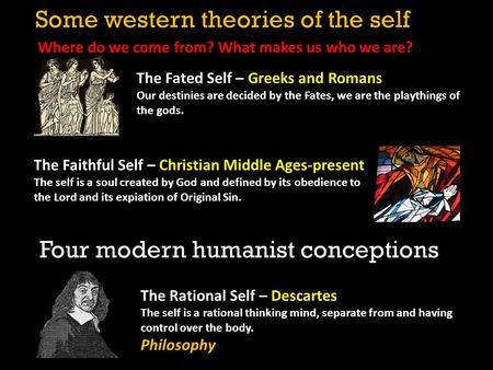 The Rational Self – Descartes The self is a rational thinking mind, separate from and having control over the body. Philosophy The Fated Self – Greeks.