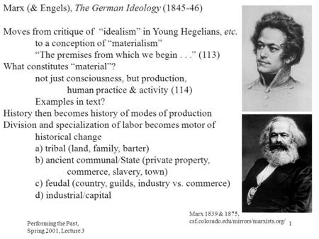 "Performing the Past, Spring 2001, Lecture 3 1 Marx (& Engels), The German Ideology (1845-46) Moves from critique of ""idealism"" in Young Hegelians, etc."