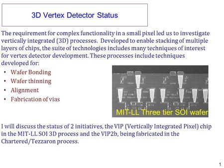 3D Vertex Detector Status The requirement for complex functionality in a small pixel led us to investigate vertically integrated (3D) processes. Developed.