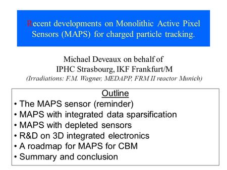 The MAPS sensor (reminder) MAPS with integrated data sparsification