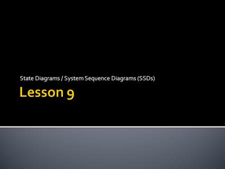 State Diagrams / System Sequence Diagrams (SSDs)