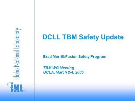 TBM WG Meeting UCLA, March 2-4, 2005 Brad Merrill/Fusion Safety Program DCLL TBM Safety Update.