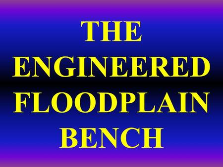 THE ENGINEERED FLOODPLAIN BENCH. Conceptually, for an incised system you can: raise the stream, lower the floodplain, or a little of both Lower either.