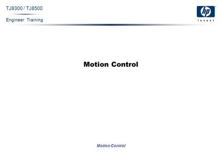 Engineer Training Motion Control TJ8300 / TJ8500 Motion Control.