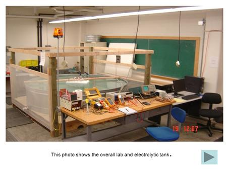 This photo shows the overall lab and electrolytic tank.