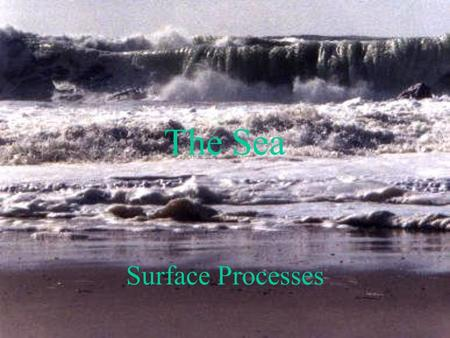 The Sea Surface Processes. The Sea has three processes Erosion Transportation Deposition.