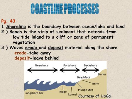 Pg. 43 1.Shoreline is the boundary between ocean/lake and land 2.) Beach is the strip of sediment that extends from low tide inland to a cliff or zone.