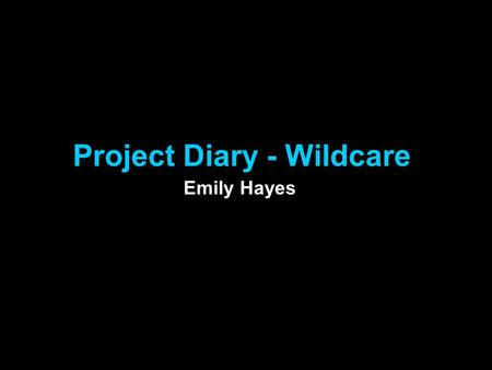 Project Diary - Wildcare Emily Hayes. 21.09.12 Todays lesson I started my project plan. The point of this was to help myself get organised so that I can.