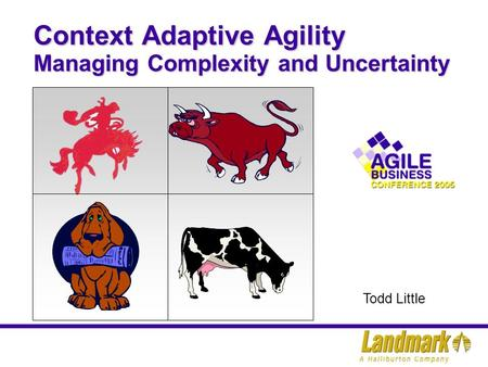 Context Adaptive Agility Managing Complexity and Uncertainty Todd Little.