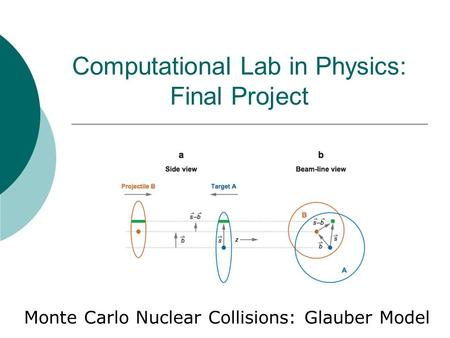 Computational Lab in Physics: Final Project Monte Carlo Nuclear Collisions: Glauber Model.