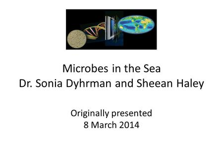 Microbes in the Sea Dr. Sonia Dyhrman and Sheean Haley Originally presented 8 March 2014.