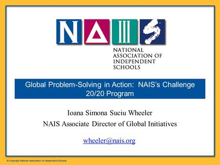 Global Problem-Solving in Action: NAIS's Challenge 20/20 Program