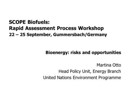SCOPE Biofuels: Rapid Assessment Process Workshop 22 – 25 September, Gummersbach/Germany Bioenergy: risks and opportunities Martina Otto Head Policy Unit,