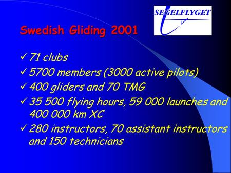 Swedish Gliding 2001 71 clubs 5700 members (3000 active pilots) 400 gliders and 70 TMG 35 500 flying hours, 59 000 launches and 400 000 km XC 280 instructors,