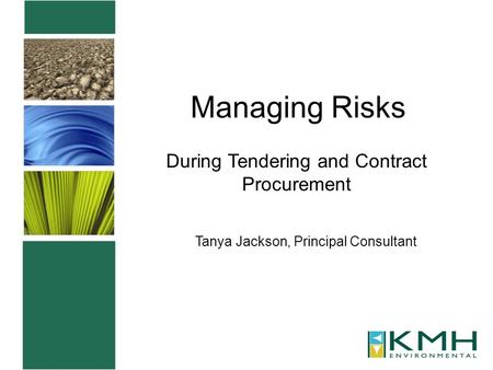 Managing Risks During Tendering and Contract Procurement Tanya Jackson, Principal Consultant.