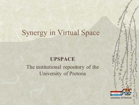 Synergy in Virtual Space UPSPACE The institutional repository of the University of Pretoria.