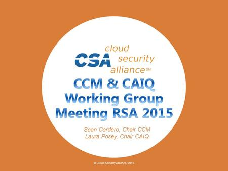 © Cloud Security Alliance, 2015 Sean Cordero, Chair CCM Laura Posey, Chair CAIQ.