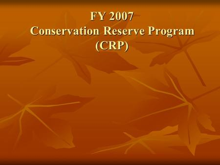 FY 2007 Conservation Reserve Program (CRP). Conservation Reserve Program Topics Agency Roles and Responsibilities Agency Roles and Responsibilities CRP.