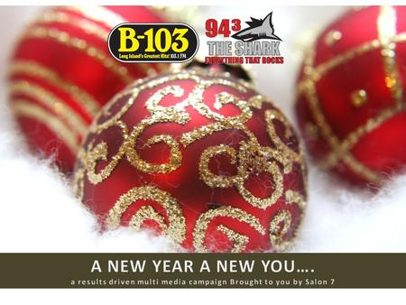 LOYAL LISTENERS SIGN UP ONLINE FOR AN EXCLUSIVE HOLIDAY/NEW YEAR OFFER FROM Salon 7! Objective: Promote Salon 7 on B103 & The Shark throughout the Holiday.