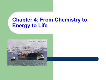 Chapter 4: From Chemistry to Energy to Life
