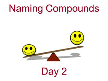 Naming Compounds Day 2 Working backwards: name to formula It's possible to determine a formula from a name E.g. What is the formula of sodium oxide?