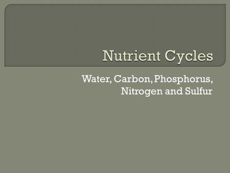 Water, Carbon, Phosphorus, Nitrogen and Sulfur.  Collects, purifies and distributes earth's supply of water  Driven by evaporation (from oceans, lakes,