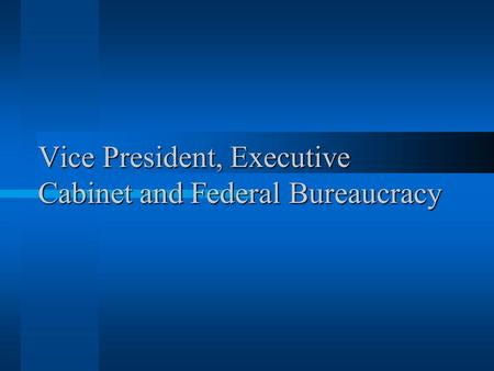 Vice President, Executive Cabinet and Federal Bureaucracy.