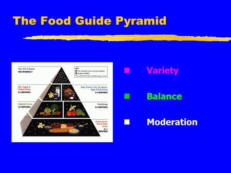 The Food Guide Pyramid n Variety n Balance n Moderation.
