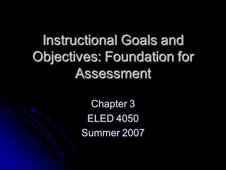 writing instructional objectives for teaching and assessment