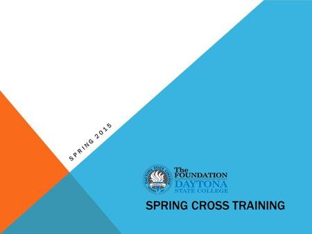 SPRING CROSS TRAINING SPRING 2015. FOUNDATION MISSION The DSC Foundation is a direct support organization of Daytona State College founded in 1974. Its.