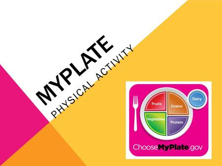 MYPLATE PHYSICAL ACTIVITY. FOOD FACT As Americans, it is recommended that we increase our intake of vegetables, fruits, whole grains, lowfat milk and.