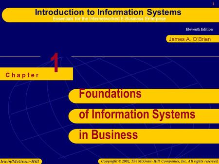 Eleventh Edition 1 Introduction to Information Systems Essentials for the Internetworked E-Business Enterprise Irwin/McGraw-Hill Copyright © 2002, The.