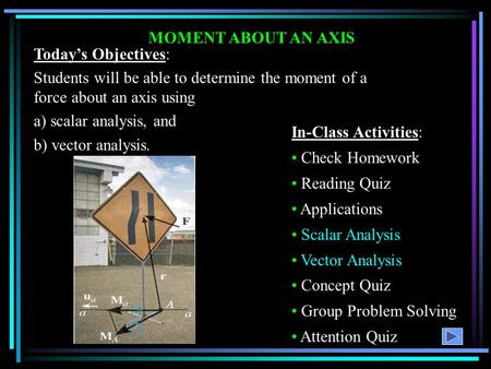 MOMENT ABOUT AN AXIS Today's Objectives: Students will be able to determine the moment of a force about an axis using a) scalar analysis, and b) vector.