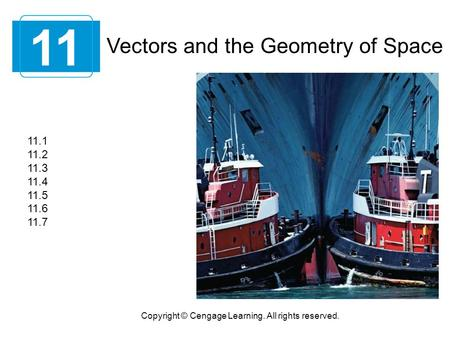 Vectors and the Geometry of Space 11 Copyright © Cengage Learning. All rights reserved. 11.1 11.2 11.3 11.4 11.5 11.6 11.7.