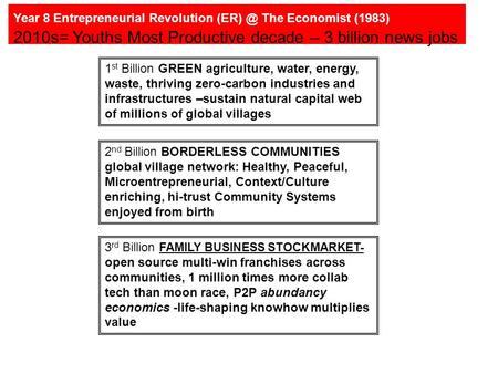 Year 8 Entrepreneurial Revolution The Economist (1983) 2010s= Youths Most Productive decade – 3 billion news jobs 1 st Billion GREEN agriculture,