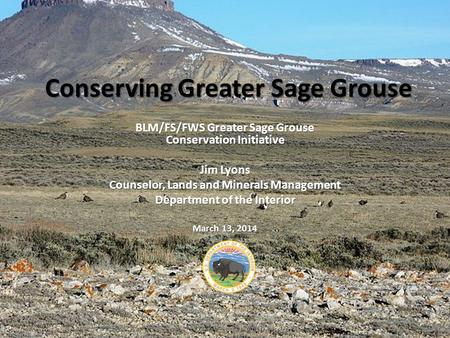 Conserving Greater Sage Grouse BLM/FS/FWS Greater Sage Grouse Conservation Initiative Jim Lyons Counselor, Lands and Minerals Management Department of.