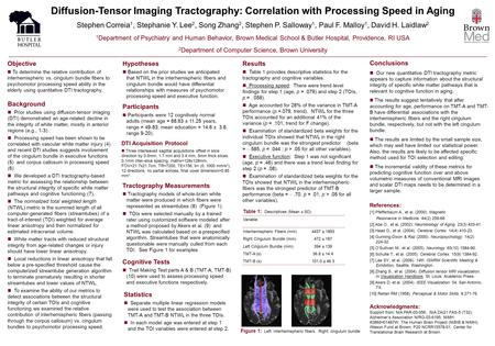 Diffusion-Tensor Imaging Tractography: Correlation with Processing Speed in Aging Stephen Correia 1, Stephanie Y. Lee 2, Song Zhang 2, Stephen P. Salloway.