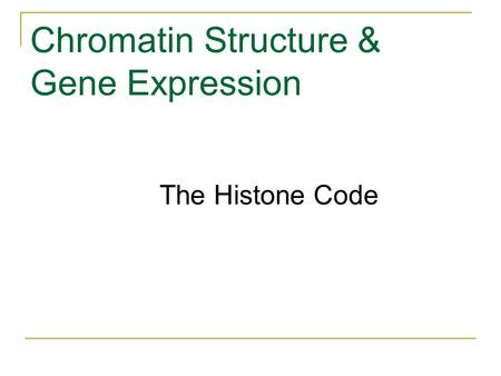 Chromatin Structure & Gene Expression The Histone Code.