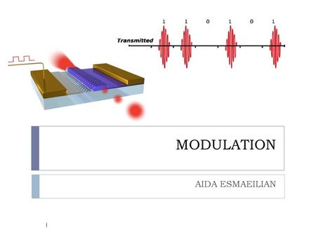 MODULATION AIDA ESMAEILIAN 1. MODULATION  Modulation: the process of converting digital data in electronic form to an optical signal that can be transmitted.