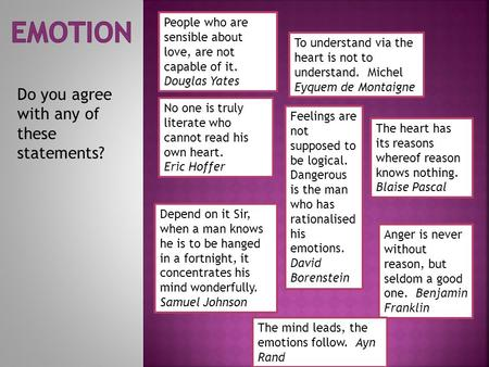 Emotion Do you agree with any of these statements?