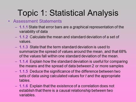 Topic 1: Statistical Analysis