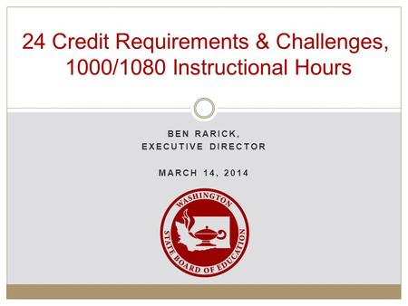 BEN RARICK, EXECUTIVE DIRECTOR MARCH 14, 2014 24 Credit Requirements & Challenges, 1000/1080 Instructional Hours.